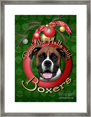 Christmas - Deck The Halls With Boxers Framed Print by Renae Laughner