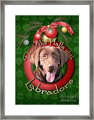 Christmas - Deck The Halls With Labrador S Framed Print by Renae Laughner