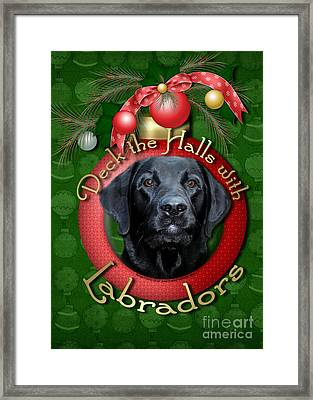 Christmas - Deck The Halls With Labradors Framed Print by Renae Laughner