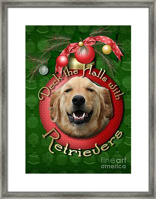 Christmas - Deck The Halls With Retrievers Framed Print by Renae Laughner