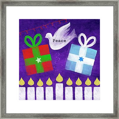 Christmas And Hanukkah Peace Framed Print by Linda Woods