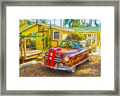 Framed Print featuring the painting Christmas At Crystal Cove by Gregory Dyer