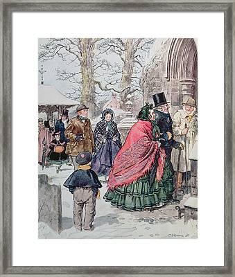 Christmas At Dreamthorpe Framed Print by Charles Edmund Brock