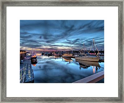 Christmas At The Marina Framed Print