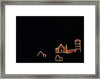 Christmas At The Nubble Framed Print by Skip Willits