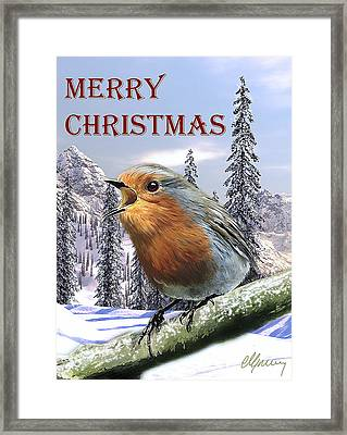 Christmas Card Red Robin Framed Print by Michael Greenaway