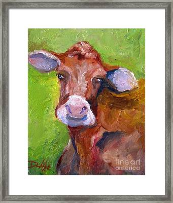 Christmas Cow On Green Framed Print by Delilah  Smith