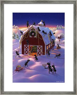 Christmas Decorator Ants Framed Print by Robin Moline