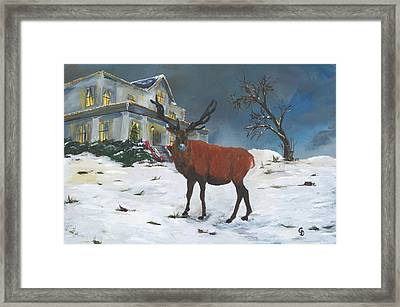 Christmas Elk Framed Print
