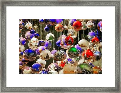 Christmas Holiday Decor - Mouth Blown And Hand Painted Framed Print by Christine Till
