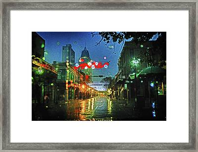 Lights At 3 Georges In Mobile Al Framed Print by Michael Thomas