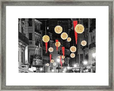 Christmas Lights In Alicante Framed Print by Marianna Mills