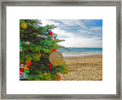 Framed Print featuring the painting Christmas On The Beach by Gregory Dyer