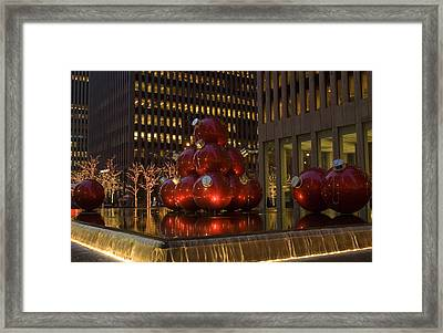 Framed Print featuring the photograph Christmas Ornaments Nyc by Diane Lent