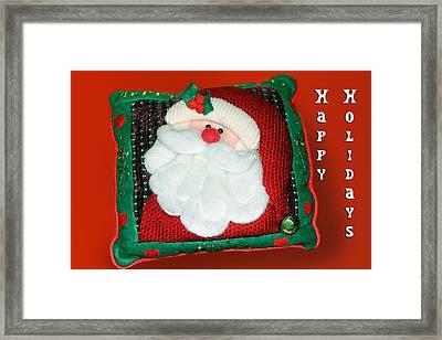 Christmas Santa Pillow Framed Print by Linda Phelps