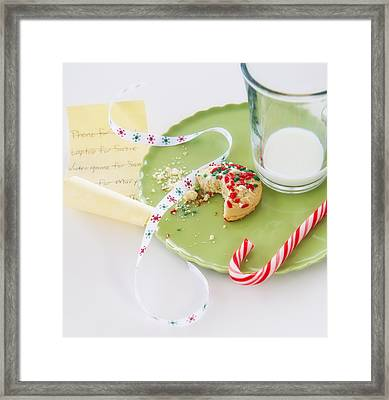 Christmas Still Life With Cookie And Whishlist Framed Print by Daniel Grill