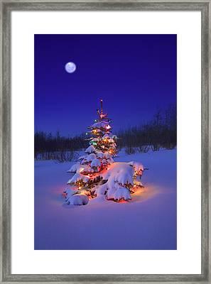 Christmas Tree Glowing Framed Print by Carson Ganci