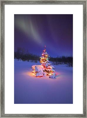 Christmas Tree Glowing Under The Framed Print by Carson Ganci