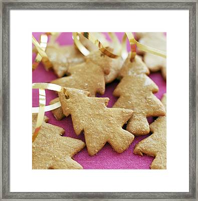 Christmas Tree Shaped Biscuits Framed Print by David Munns
