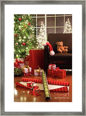 Christmas Tree With Gifts Framed Print by Sandra Cunningham