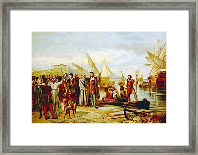 Christopher Columbus Embarkation Framed Print by Everett
