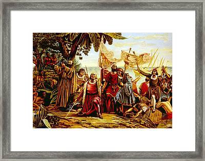 Christopher Columbus Landing Framed Print by Everett