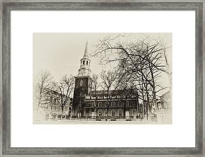 Christs Church Philadelphia In Sepia Framed Print by Bill Cannon