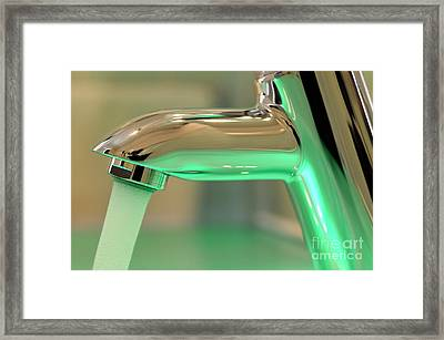Chrome Sink Tap With Running Water Framed Print by Sami Sarkis