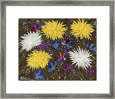 Chrysanthemums And Irises Framed Print by Marina Gershman