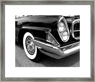 Chrysler 300 Headlight In Black And White Framed Print