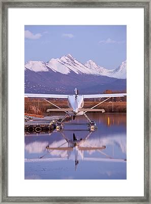 Chugach Mountains And A Beaver Framed Print by Tim Grams