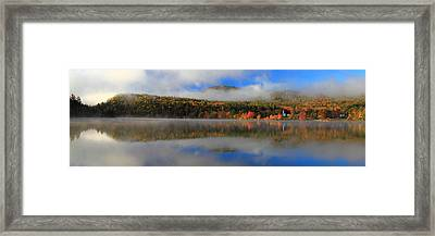 Church Across The Lake-panoramic Framed Print