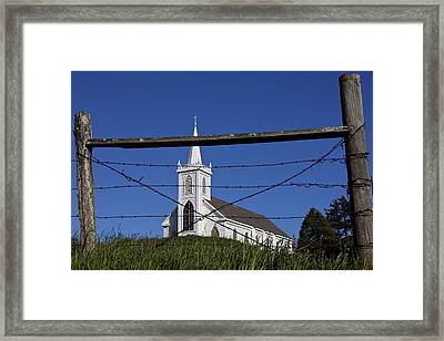 Church And Barbed Wire Framed Print by Garry Gay
