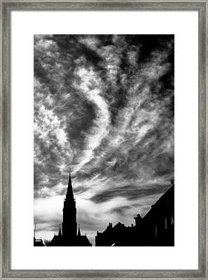Church And Clouds Framed Print