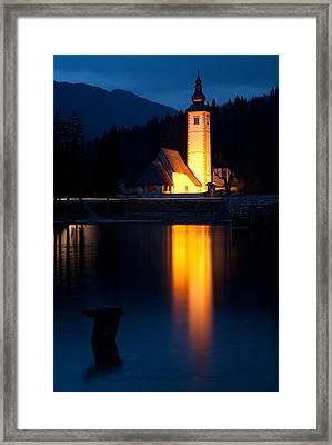 Church At Dusk Framed Print