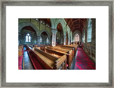 Church Benches Framed Print by Adrian Evans