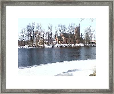 Church By The River Framed Print by Cecelia Taylor-Hunt
