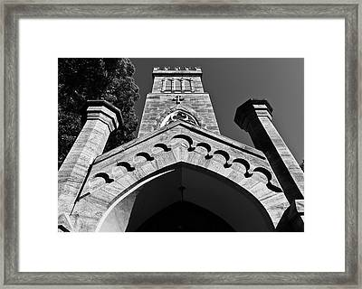 Church Facade In Black And White Framed Print