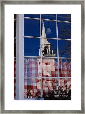 Church In Cafe Window Framed Print by Andrea Simon