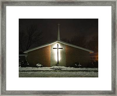Church In The Snow Framed Print by Guy Ricketts