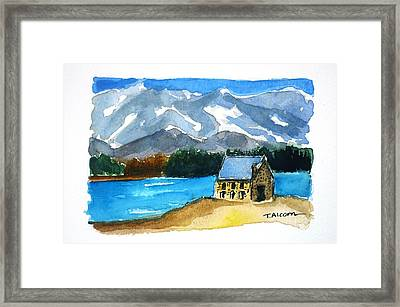 Framed Print featuring the painting Church Of The Good Shepherd Lake Tekapo New Zealand by Therese Alcorn
