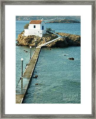 Framed Print featuring the photograph Church On The Water by Therese Alcorn