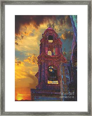 Framed Print featuring the photograph Church Tower In San Miguel De Allende by John  Kolenberg