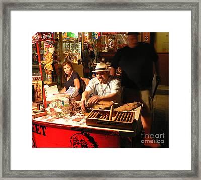 Cigar Roller Little Italy Framed Print by Elizabeth Fontaine-Barr