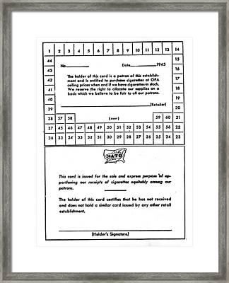 Cigarette Rationing Card, During Wwii Framed Print by Everett