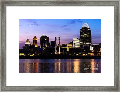 Cincinnati At Night Downtown City Skyline Framed Print by Paul Velgos