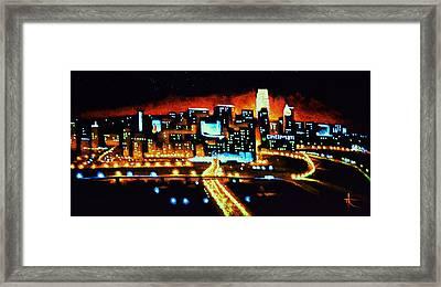 Cincinnati By Black Light Framed Print by Thomas Kolendra