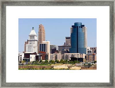 Cincinnati Downtown City Buildings Cityscape Framed Print by Paul Velgos