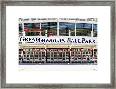 Cincinnati Great American Ball Park Entrance Sign Framed Print by Paul Velgos