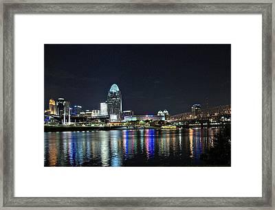 Cincinnati In Lights Framed Print by Tina Karle
